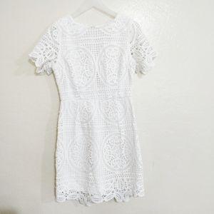 JOA white lace short sleeve dress.